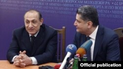 Armenia - Newly appointed Sport and Youth Affairs Minister Yuri Vartanian (L) is introduced to his staff by Prime Minister Tigran Sarkisian, Yerevan, 8May2013.