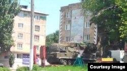 """""""Бук"""" в украинском городе Торез, занятом сепаратистами, 17 июля 2014 года"""