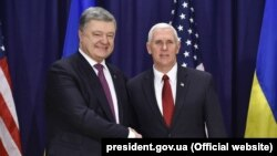 Президент Украины Петр Порошенко и вице-президент США Майк Пенс