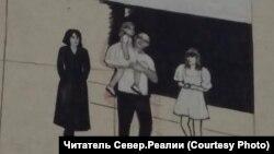 Изначальный рисунок на фасаде дома на Театральной улице в Черняховске. На рисунке изображен глава Черняховска с семьей