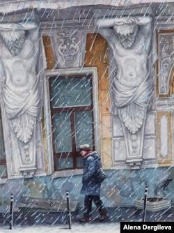 Heavy snow falls on a pedestrian on Solyanka Street.