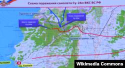 نقشهای که وزارت دفاع روسیه منتشر کرده؛ خط قرمز سوخوی روسی است و خط آبی اف ۱۶ ترکیه