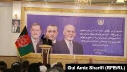 محمد اشرف غنی رئیس جمهور افغانستان حین صحبت در ولایت بامیان