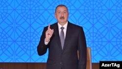 Prezident İ.Əliyev konfransda çıxış edir. 3 fevral 2020