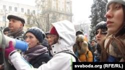 """Участники протестов """"Евромайдан"""" в Киеве.Декабрь 2013 года."""