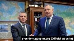 Moscova, 20 ianuarie 2018 : vicepremierul rus Dmitri Rogozin și liderul transnistrean Vadim Krasnoselski