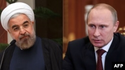 A combo photo shows Russian President Vladimir Putin (right) and his Iranian counterpart Hassan Rohani