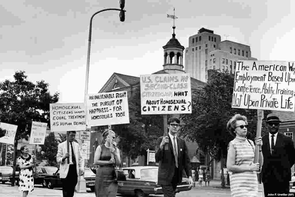One of the first openly gay American photojournalists, Kay Tobin Lahusen (right), carries a sign calling for the end of discrimination against homosexuals at a July 4, 1967, march in front of Independence Hall in Philadelphia. Almost 50 years later, the Supreme Court legalized gay marriage in the United States on June 26, 2015.
