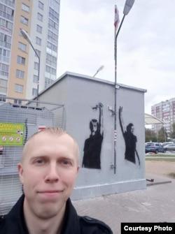 Ігар Пажарыцкі на плошчы Перамен у Менску