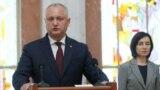 Președintele Igor Dodon și premierul Maia Sandu la depunerea jurământului noului guvern