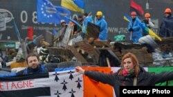 Dimitri Halby (lijevo) i njegova supruga učestvuju na protestima u Kijevu, februar 2014.