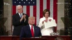 Трамп відмовився потиснути руку Пелосі, вона розірвала текст його промови – відео