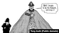 """Пиночет шектенген британдык полициячыга: """"Дагы эмне көйгөй көрүнгөнсүп жатат, офицер?"""" деп айтууда. Тони Оут. 1998."""