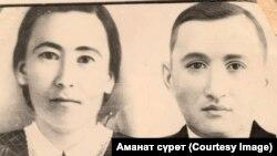 Токтоналы Ашыралиев жубайы менен.