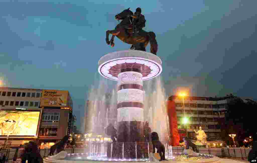 An enormous statue of Alexander of Macedon (commonly known as Alexander the Great) has been erected in Skopje's main square.