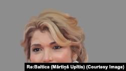 Uzbekistan - Gulnara Karimova, Drawing by Mārtiņš Upītis.