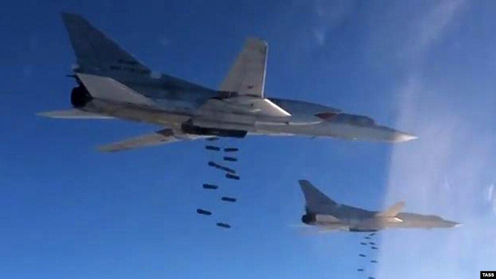 Самолёты Ту-22М3 Дальней авиации Военно-космических сил России во время боевых действий в Сирии, ноябрь 2015 года
