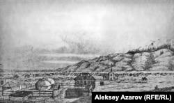 Временное укрепление было построено к началу 1855 года – несколько бревенчатых изб, обнесенных высоким деревянным забором. Вокруг был сооружен земляной вал и ров перед ним.