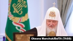 Patriarch Kirill at a meeting of the Holy Synod of the Russian Orthodox Church in Minsk on October 15.