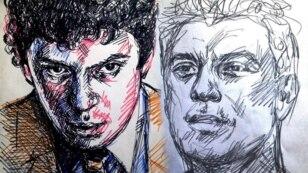 Boris Nemtsovun portretləri. Müəllif: Lena Kheydiz