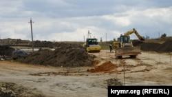 Строительство трассы «Таврида», Белогорский район Крыма, октябрь 2017 года