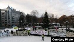 Демонстрация узбекских беженцев, последователей узбекского имама Обидхона кори Назарова в Норвегии. Февраль 2012 года, Осло.