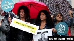 Акция в поддержку правозащитников в Стамбуле, июль 2017 года