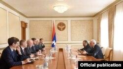 Nagorno-Karabakh -- Bako Sahakian, the Karabakh president, meets with the U.S., Russian and French co-chairs of the OSCE Minsk Group, Stepanakert, October 16, 2019.