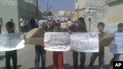 Участники антиправительственных протестов. Сирия, 2 сентября 2011 года.