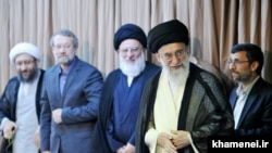 Iran top officials (R to L) former President Ahmadinejad, Supreme Leader Ali Khamenei, former Judiciary head Hashemi Shahroudi, Parliament speaker Ali Larijani, and Current Judiciary head Sadegh Larijani, on Wednesday August 18, 2010.