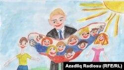 """Putin Rusiyanın çoxuşaqlı atası. 8 yaşlı Marina Bobrova (""""Uşaqlar prezident Putinin şəklini çəkir"""" müsabiqəsi)"""