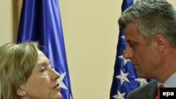 Prime Minister Hashim Thaci (right) with U.S. Secretary of State Hillary Clinton during their joint press conference in Pristina