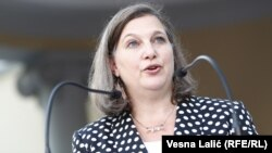 Victoria Nuland, then-assistant secretary of state for European and Eurasian affairs, speaks during a visit to Belgrade in July 2016.