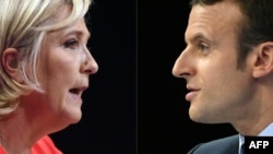 Франция президентлигига асосий номзодлар Ле Пен (чапда) ва Эмамануэль Макрон.