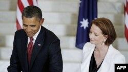 Обама и Џилард во Канбера
