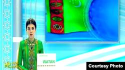 Türkmen telewideniýesinden bir pursat. Arhiwden alnan surat.