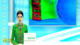 """Кадр из государственной телепрограммы """"Ватан"""" государственного телевидения Туркменистана."""