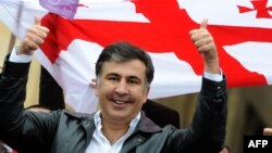 Georgian President Mikheil Saakashvili gestures during rally in central Tbilisi on April 19.