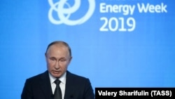 Russian President Vladimir Putin addresses the 2019 Russian Energy Week forum in Moscow on October 2.