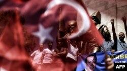 Detalj sa mitinga podrške turskom predsedniku Erdoganu u Istanbulu