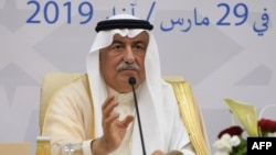 Saudi Foreign Minister Ibrahim al-Assaf speaks during a preparatory meeting for foreign ministers in Tunis on March 29, 2019 ahead of the annual Arab summit.