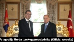 Predsjednik Turske Redžep Tajip Erdogan (L) predsjednik Turske Aleksandar Vučić u predsjedničkoj palači u Istanbulu, 29. januar 2018.