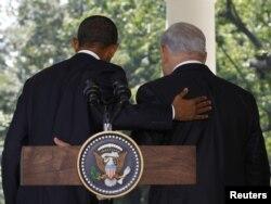 Barack Obama i Benjamin Netanjahu nakon konferencije za novinare, Washington, septembar 2010.
