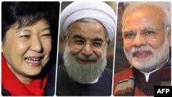 از راست: مودی (نخست وزیر هند)، روحانی و پارک (رئیس جمهور کره جنوبی)