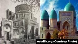 Исторический комплекс «Дорут-тиловат» в Шахрисабзе. На снимке: вид медресе в 1979 году (слева) и отреставрированный вид здания.