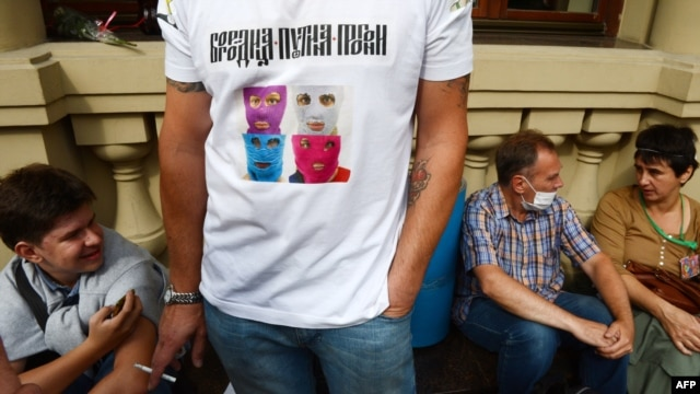 A Pussy Riot supporter wears a T-shirt in Moscow in August.