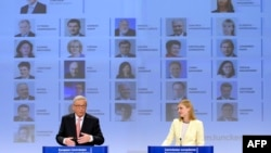 European Commission President-elect Jean-Claude Juncker unveils the list of the new European commissioners during a press conference in Brussels on September 10.