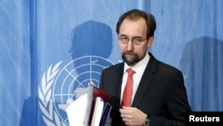 UN Human Rights High Commissioner Zeid bin Ra'ad Al-Hussein arrives for a media briefing in Geneva, in this file photo taken February 1, 2016.