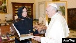 Vatikan- Roma papası və Azərbaycanın birinci ledisi Mehriban Əliyeva, 2014