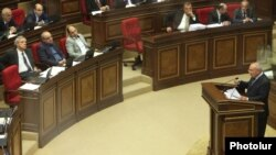 Armenia -- Armenia's Prosecutor-General Aghvan Hovsepian (R) asks the parliament to allow NA deputy Vartan Oskanian's prosecution on money laundering charges, 01Oct2012